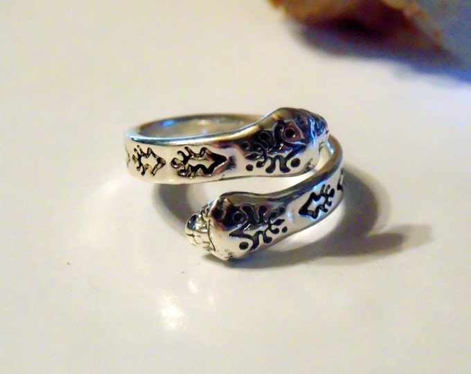 Unique Sterling Silver Patterned Double-Head Snake Bypass Ring ~ FREE SHIPPNG