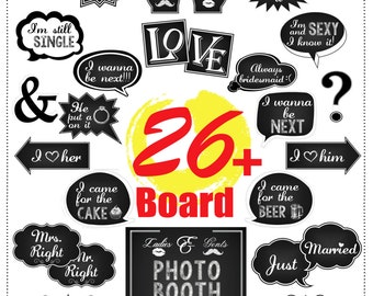 Photo Booth Props 26 DIY PDF Printable Chalkboard Signs Photobooth Speech Bubbles for weddings, birthday, party and fun