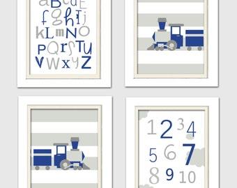 Train Nursery Decor, Train Nursery Art, Blue and Gray Nursery, Transportation Wall Art, Set of 4, 8X10