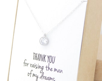 Silver Round Solitaire Necklace - Cubic Zirconia Necklace - Mother of the Groom Gift Jewelry - Solitaire Necklace - Tiny Dainty