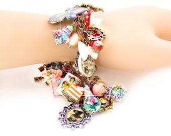 Alice In Wonderland Loaded Charm Bracelet, Hand Painted, White Rabbit, Mad Hatter,Cheshire Cat, Red Queen of Hearts, Victorian