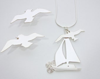 Sterling Silver Sailboat Pendant with Seagull Charm