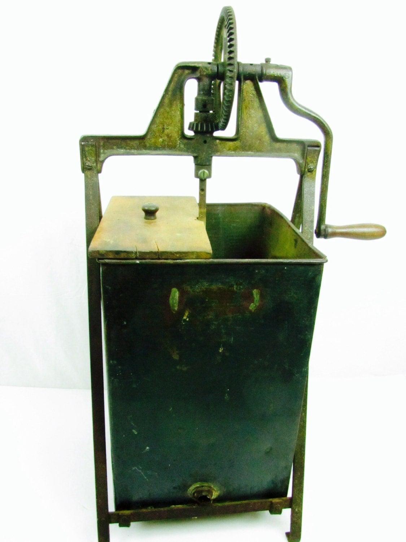 Metal butter churn antique churn metal box industrial