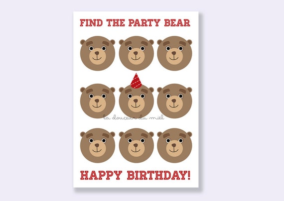 birthday card printable with brown party bears and red hat