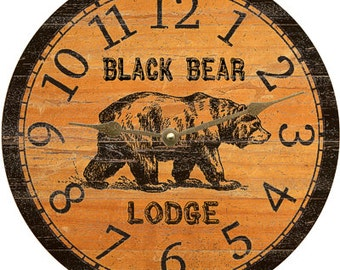 Black Bear Clock- Personalized Black Bear Clock
