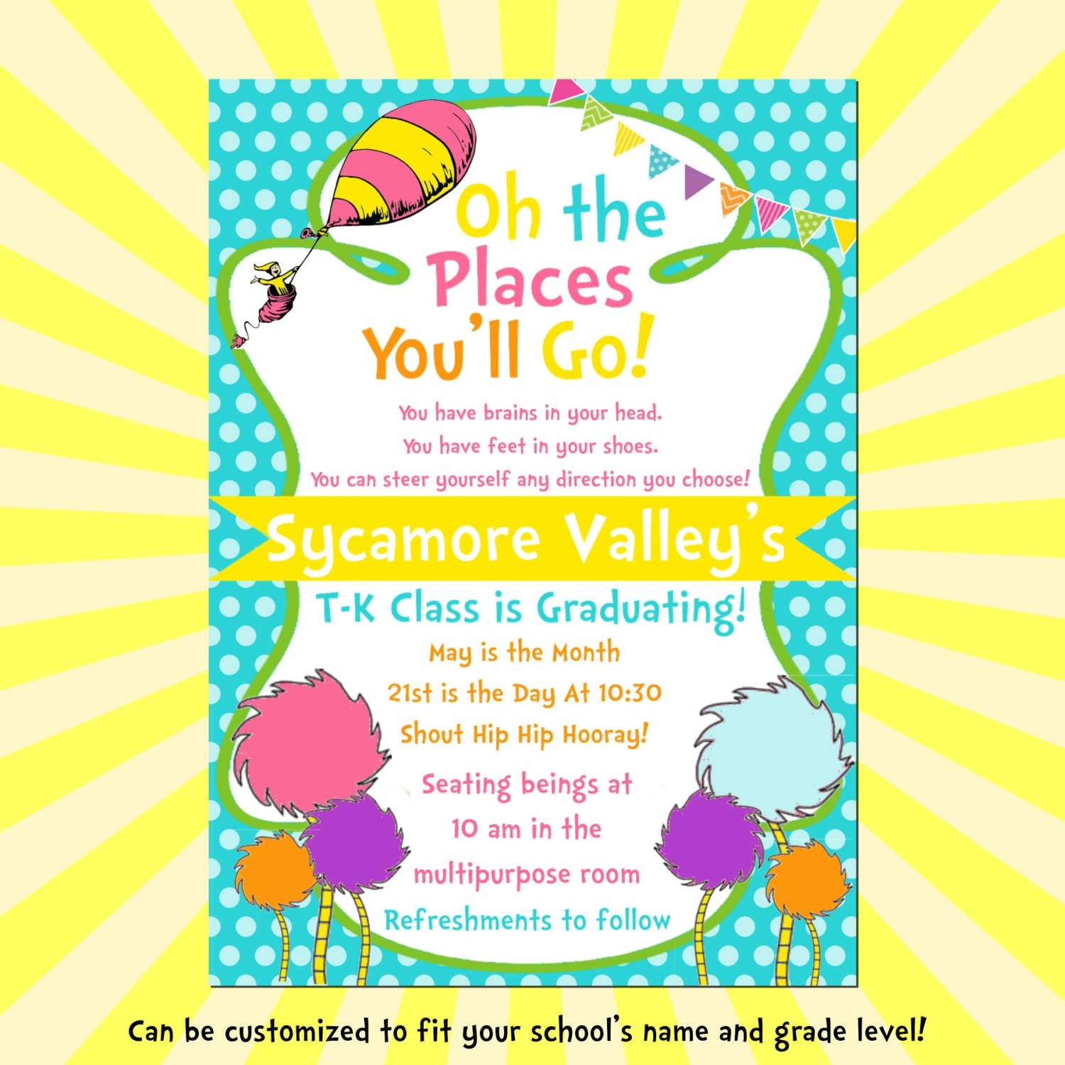 The Places Youll Go 5x7 Diyprintable on Preschool Graduation Quotes Dr Seuss 3