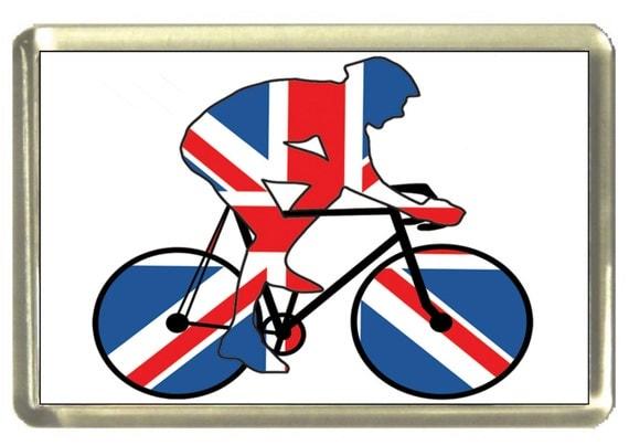 Union Jack Flag Cyclist Fridge Magnet 7cm by 4.5cm,