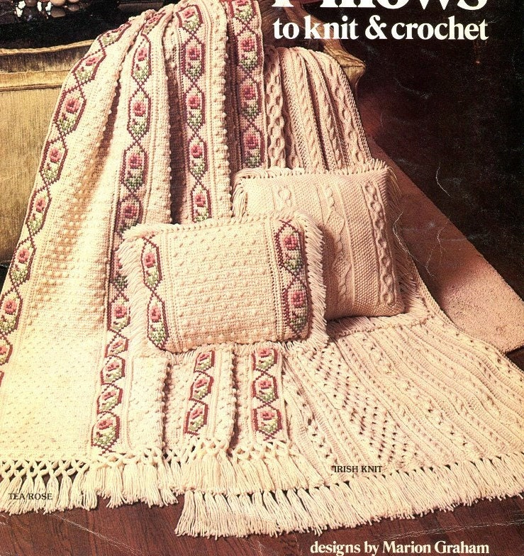Knitting & Crochet Pattern Book AFGHANS and PILLOWS 9 Sets