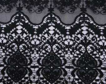 Black Embroidered Eloisa Pattern Nylon Lace Fabric For Dresses, Overlays, And More - Style 565
