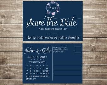 Custom Printable Save the Date Calendar Postcard