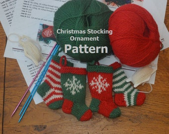 Stripes & Snowflakes Christmas Stocking Ornament Knitting Pattern