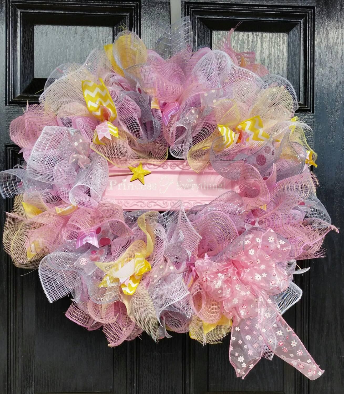 large mesh wreath baby shower hospital door nursery pink gray