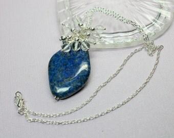 Blue Lapis Necklace Pendant, Lapis Jewelry, Protection Stone, Lapis Lazuli, Clear Crystal Quartz Cluster, Large Lapis Gemstone