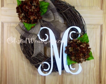 Hydrangea wreath - spring wreath - summer wreath - mothers day  - housewarming - celestial wreath