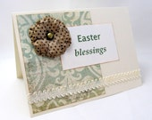 Easter Card - Easter Blessings - Soft Colors - Ivory and Green - Shabby Chic Flower - Blank Card - Simple yet Elegant Style