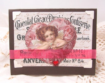 Vintage Style Valentine's Day Card - Cupid - Old Fashioned - Dark Chocolate Brown and Raspberry Pink - Hearts - Valentine's Day - Blank Card