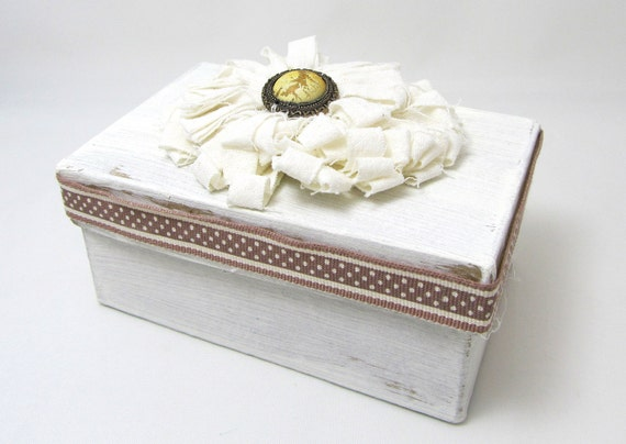 Ivory Keepsake Box - Shabby Chic Box - Fabric Flower - Gift Box - Rustic Style - Brown Polka-Dot Ribbon - Small Keepsake Box - Simple Style