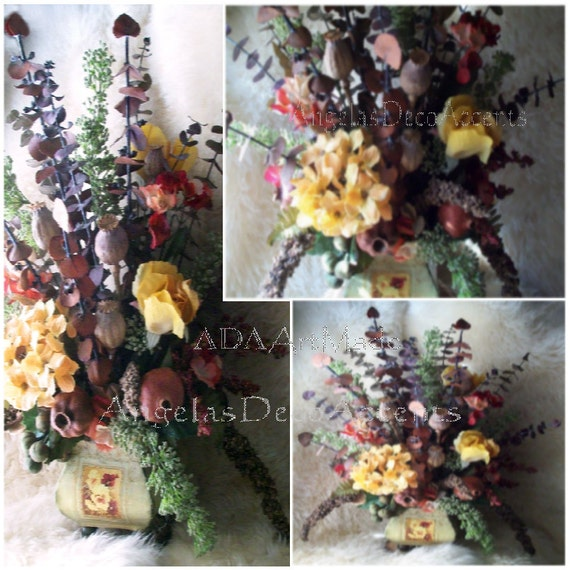 Rustic Floral Arrangement Tuscan French Country Dry By