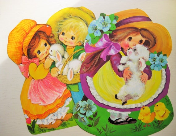 "Bunnies, bonnets and kids! Two Easter die-cut displays. Easter decor. 16"" x 12"""