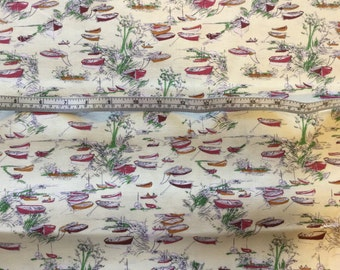 Makower little boats print cotton in cream and red