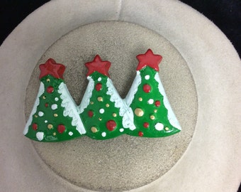 Vintage Large Triple Christmas Tree Pin