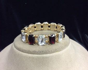 Vintage Red & Clear Rhinestone Bracelet