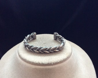 Vintage Silvertone Braided Cuff Bracelet