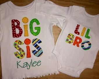 Sibling Shirts...BigSis..Lil Sis..Big Bro..Lil Bro...sizes Newborn to 14 Youth