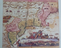 VINTAGE BOOK PLATE of  c1700 New England Map, Vintage Map, vintage book, world map,  wall art, wall decor