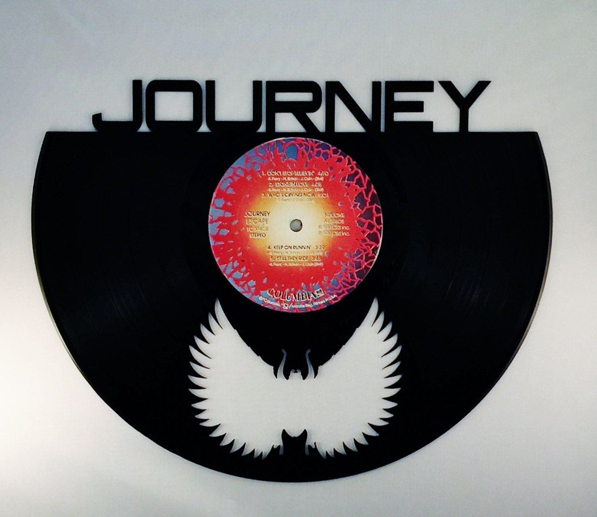 Recycled vinyl record journey wall art for Vinyl record wall art