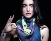 100% Silk scarf - Chic sense of humor - Cat Abduction
