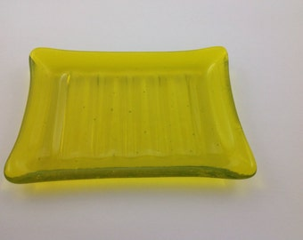 Fused Glass Yellow Soap Dish