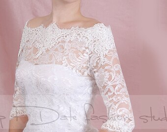 Plus Size  lace   Bridal  Off-Shoulder / Lace wedding jacket/ Bolero shrug/  jacket /bridal lace top