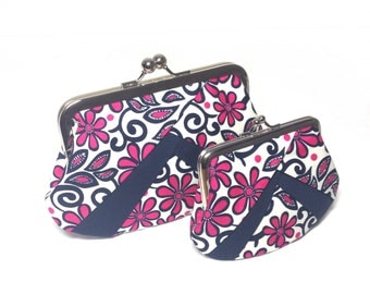 Funky pink floral Print layered coin purse/Clutch bag/Cosmetic bag