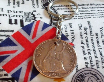 1961 1d 1d Old Penny English Coin Keyring Key Chain Fob Queen Elizabeth II