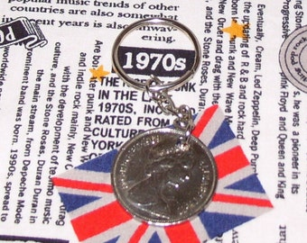 1969 British Old Large Ten Pence Coin Keyring Key Chain Fob Queen Elizabeth II