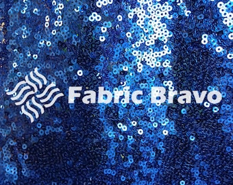 "Mini Disc Sequin Nylon Mesh Fabric - Royal Blue 54""/55"" Wide – Sold By The Yard 7030"