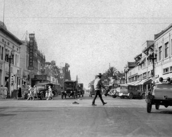 Broadway at 4th Street- 1930s- Santa Ana, California Photo Print