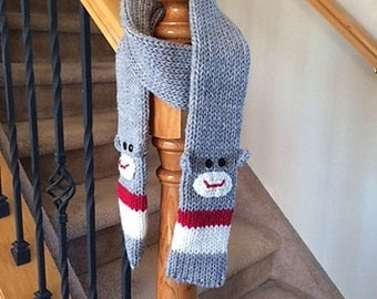 Awesome Sock Monkey Scarf in Grey with Red and Cream Stripes