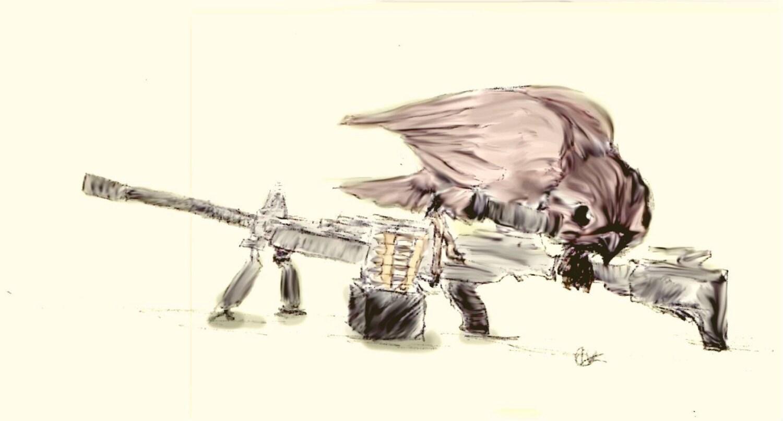 sparrow with a machine gun