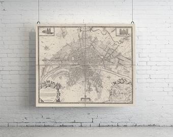 "50"" x 42"" - 4 Panelled Map of Paris, Large Vintage Print"
