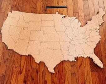 United States Corkboard Map With State Names USA Cork Map Hand - Us travel map on cork board