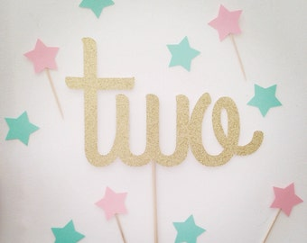 Two cake topper- gold glitter- other colors available