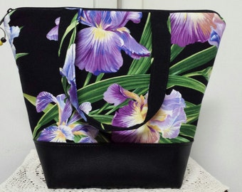 Insulated Lunch Bag,Vinyl Bottom,Primavera Iris,Floral, Nylon Lining with Inner Zipper Pocket,Washable,Work Lunch Bag, Reusable.