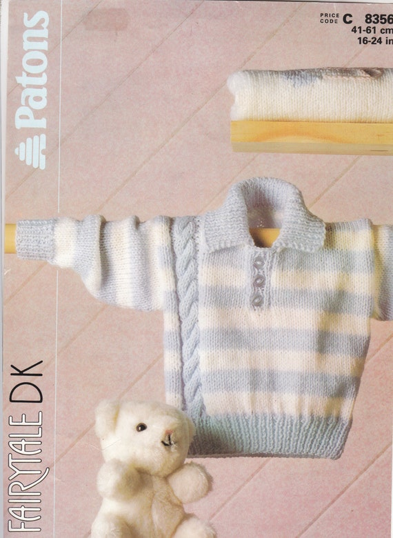 Patons Knitting Patterns Children : 8356 Patons Knitting Pattern Baby Child Collared Sweater with