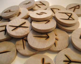 Rune Coins, Wood Burned - Set of 24 from the Ancient Norse Alphabet Runes (Also used in Old English)