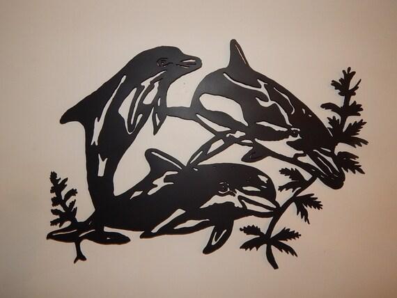 Steel Metal Art Dolphin Trio 3 Porpoise Black Flat Wall Art