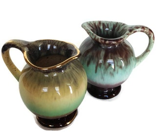 Vintage miniature pitchers drip glaze creamer pottery made in Germany