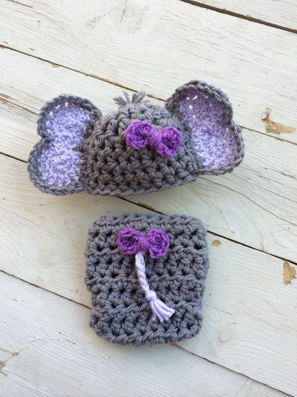 Handmade crochet newborn elephant outfit Elephant Hat