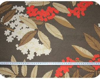 Floral retro vintage fabric with berries - brown and red